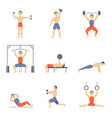 cartoon characters muscular man icon set vector image vector image