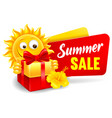 cheerful cartoon sun character which announce vector image