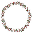 christmas holly and candies ornamental wreath vector image
