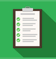 clipboard with checklist on green flat of vector image vector image