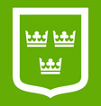 coat of arms of sweden icon green vector image vector image