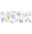 cute unicorn cats funny doodle kitty characters vector image vector image