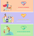 dads day poster brochure template set vector image vector image