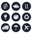 delivery shipping transportation round icons vector image