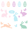 Easter bunnies and eggs set