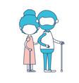 faceless full body elderly couple in walking stick vector image vector image