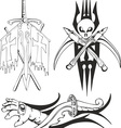 fantasy tattoo black and white sketches vector image vector image