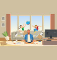father in a state stress with playing children vector image vector image