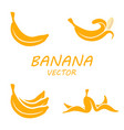 flat banana icons set vector image
