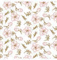 flowers seamless pattern hand drawn style tender vector image vector image