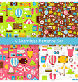 Four Flat Summer Holidays and Travel Vacation vector image vector image
