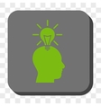 Genius Bulb Rounded Square Button vector image