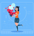 girl blogger hold cell smart phone with many likes vector image vector image