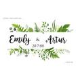greenery wedding floral invite invitation card vector image vector image