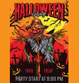 halloween party colorful vintage poster vector image