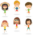 happy cartoon girls jumping vector image vector image
