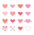 hearts flat icon set in pink colors vector image vector image