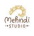 henna mehndi drawing ethnic tattoo studio logo vector image