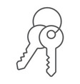 keys thin line icon lock and home access sign vector image vector image