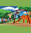 kids playing on a monkey bar at the playground vector image
