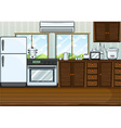 Kitchen full with furnitures and equipments vector image vector image