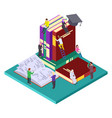 library education isometric concept vector image
