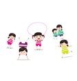 Little children doing skipping against white vector image vector image