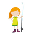 Little girl with fishing pole vector image