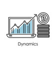 marketing and finance bitcoin dynamics graphic in vector image