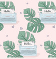 monstera leaves and typewrite pattern tropical vector image vector image
