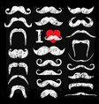 moustaches white set icons on chalk board vector image