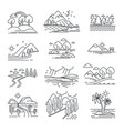 outline landscapes isolated natural views plants vector image