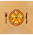 pizza and near it a knife and fork vector image