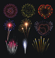 pyrotechnics and fireworks realistic set vector image