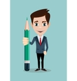 Reporter with pencil Thinking creative work vector image