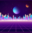 retro city landscape in neon colors cyberpunk vector image vector image