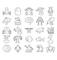robot icon set outline style vector image