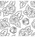 roses black and white seamless linear pattern vector image