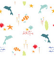 sea fish doodle summer pattern background vector image vector image