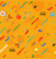 seamless school office supplies orange pattern vector image