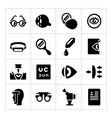 Set icons of ophthalmology and optometry vector image