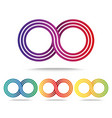 Set of colored infinity signs isolated on white