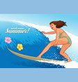 sexy surfer girl vector image vector image