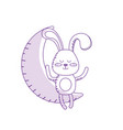 silhouette teddy rabbit seated in the moon vector image vector image
