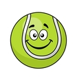Smiling green cartoon tennis ball vector image vector image