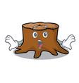 surprised tree stump mascot cartoon vector image vector image
