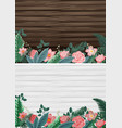 two background with wooden boards and flowers vector image vector image