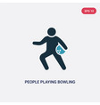 two color people playing bowling icon from vector image vector image