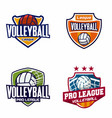 volleyball logo badge vector image vector image