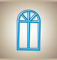 window simple sign sky blue icon with vector image